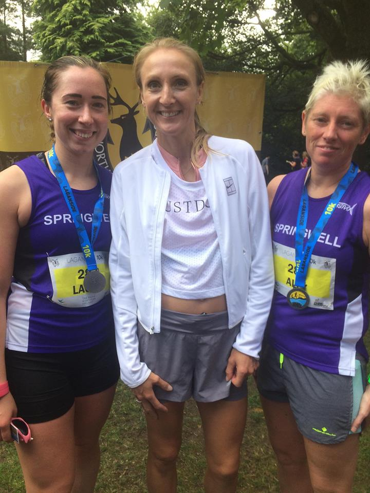 Springwell RC's Laura Wilson and Alison Kelly with Paula Radcliffe at the Laganside 10k