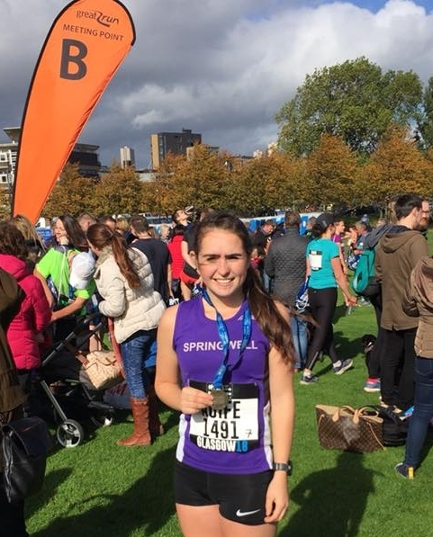 Springwell RC's Aoife Carr completes her first Half Marathon at the Great Scottish Run