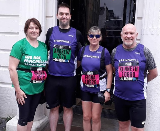 Springwell RC's Rhona Laverty, Andrew Kincaid, Fiona Walls and Kenneth Bacon at the Great Scottish Run