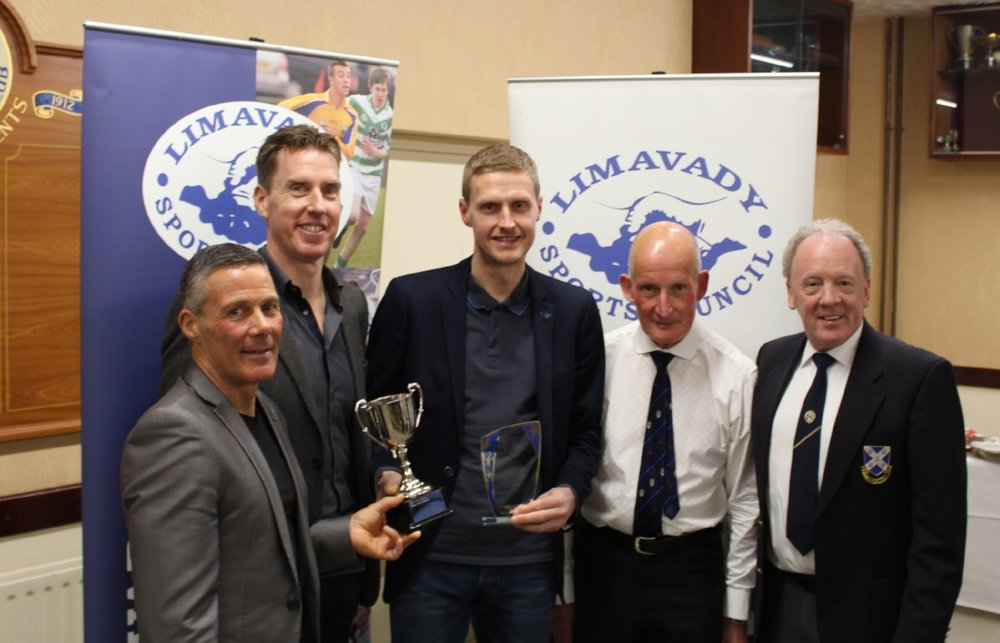 Joe Barr, Thomas Moore, Peter Cromie, Bill Ely and David Craig at the Limavady Sports Council Awards