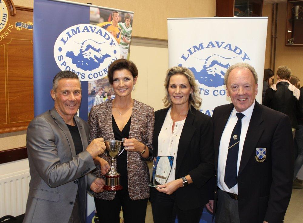 Joe Barr, Ciara Toner, Catherine Pinkerton and David Craig at the Limavady Sports Council Awards