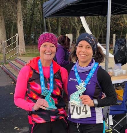 Helena Dornan and Sarah Dickinson at the EAMs Marathon