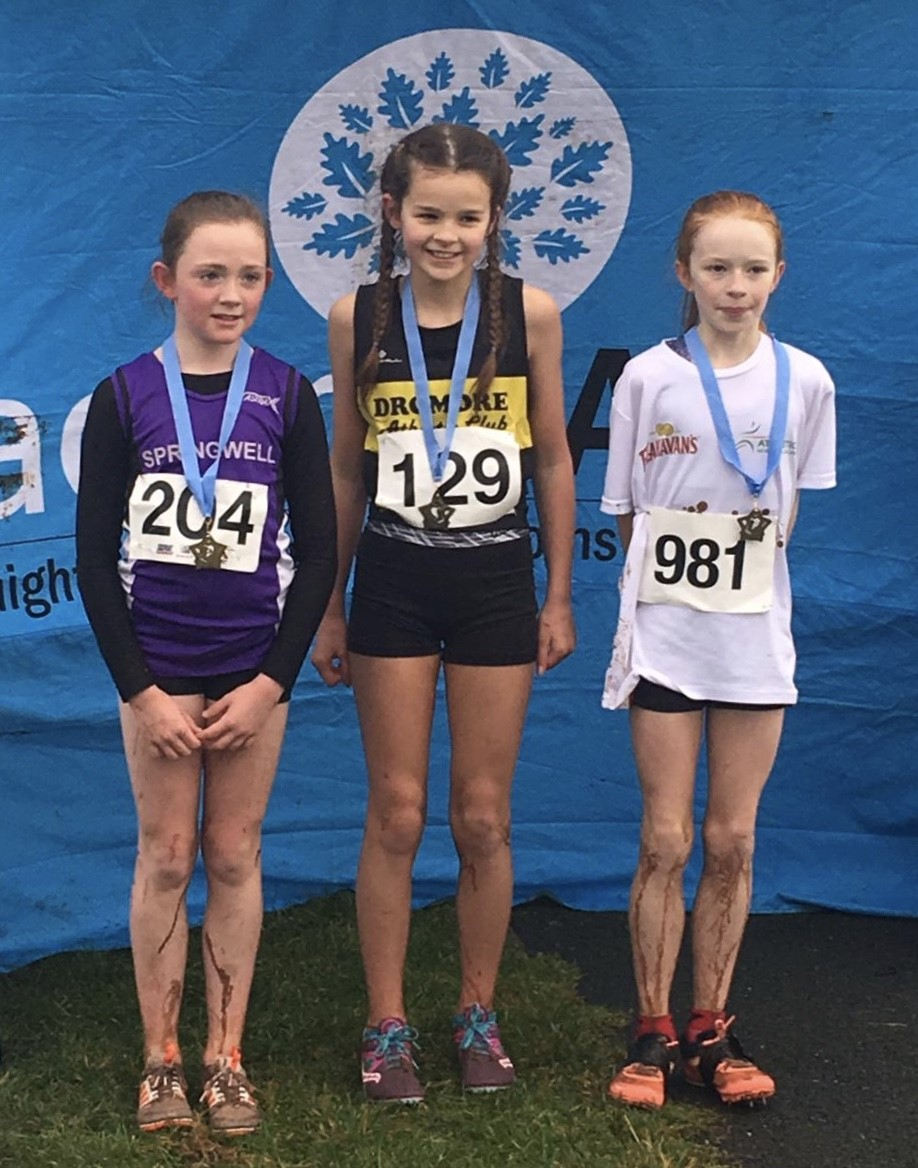 Eobha McAllister (Springwell RC), Lily Rimmer (Dromore AC) and Aisling Smith (Ballymena & Antrim AC)
