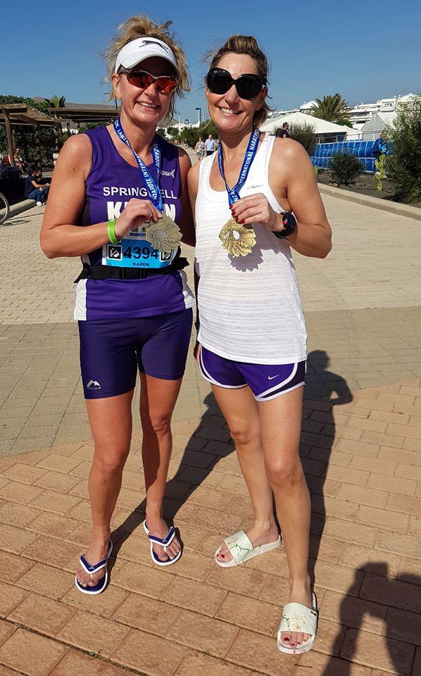Springwell RC's Karen McLaughlin and Pamela Mooney at the Lanzarote Marathon (Photo Richard McLaughlin)