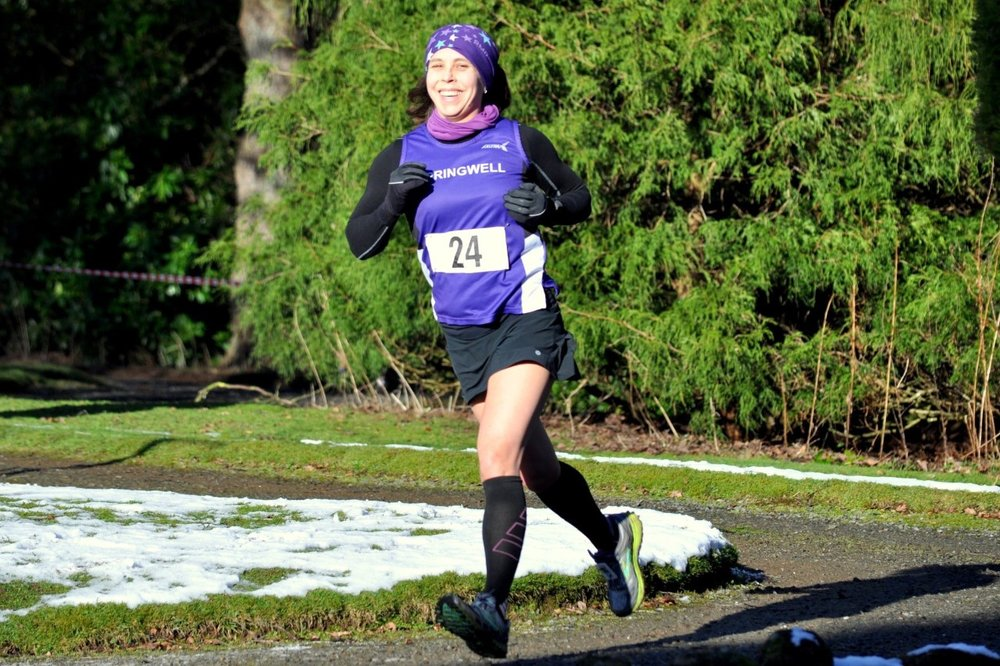 Sarah Dickinson at the Drum Manor 10k (Photo Richard McLaughlin)