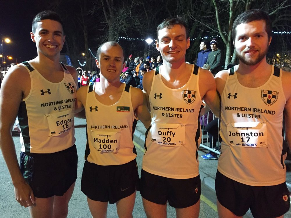 The NI&Ulster Team – James Edgar, Christopher Madden, Conor Duffy and Neil Johnston  (Photo – Athletics NI)