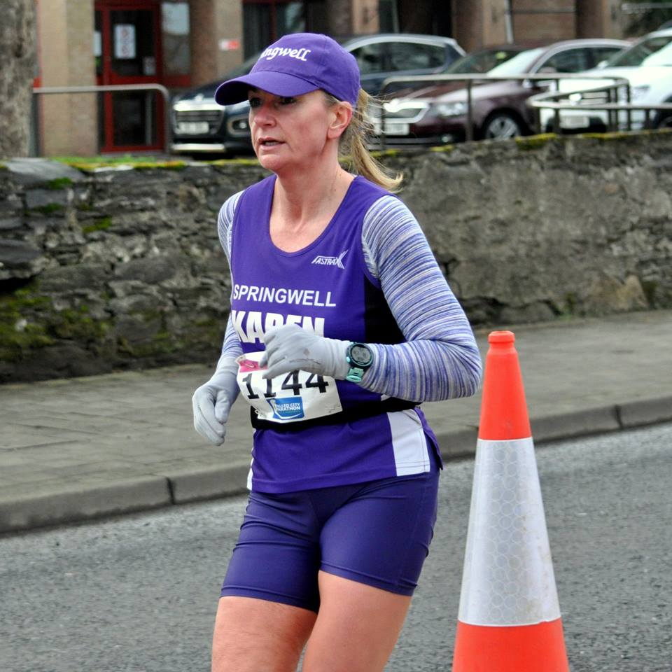 Karen McLaughlin – winner of the F45 age group at the WCM 10 Mile Road Race  (Photo Courtesy of Richard McLaughlin)