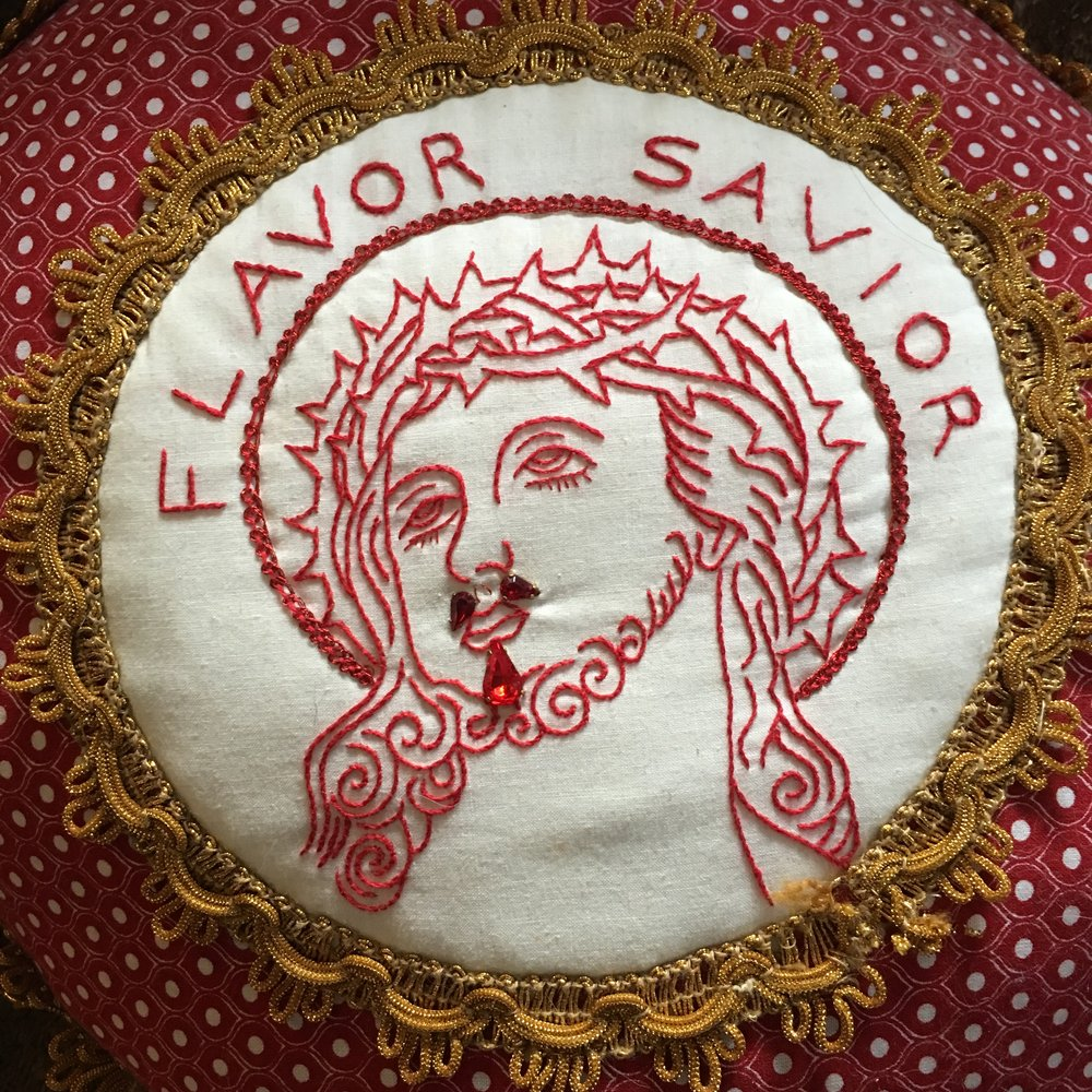 "Flavor Savior, Pillow, 2011. 12"" round, $250"