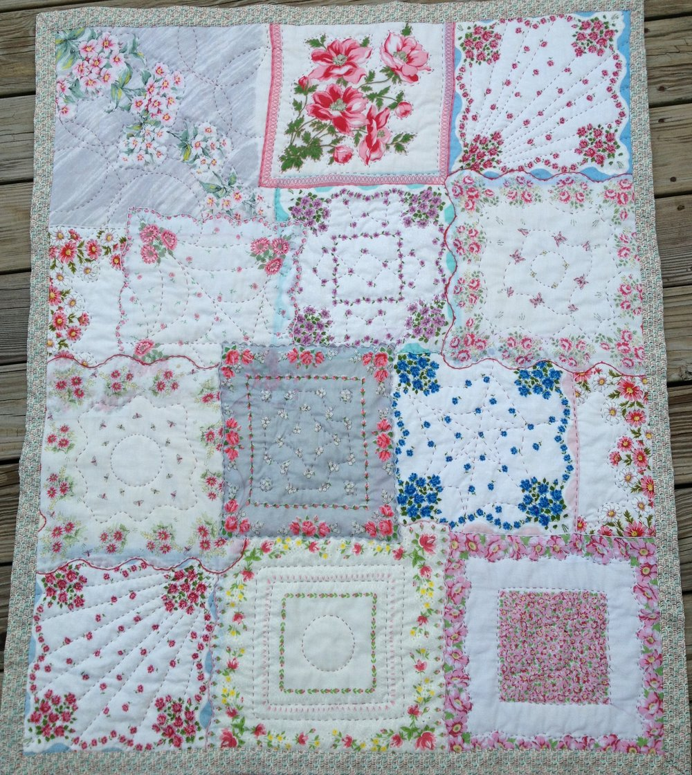 Quilt for LJ, 2014 Quilted Vintage Hankerchives