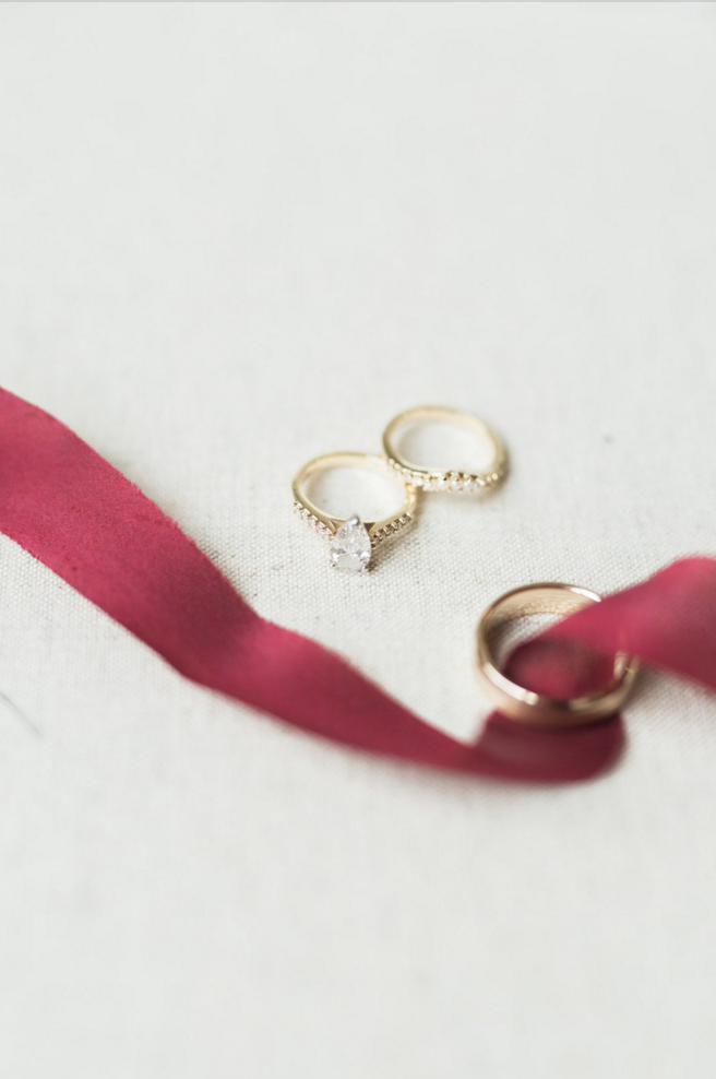 Elegant Gold Wedding Bands | Maroon and Navy Rustic Winter Wedding in Fort Worth, TX