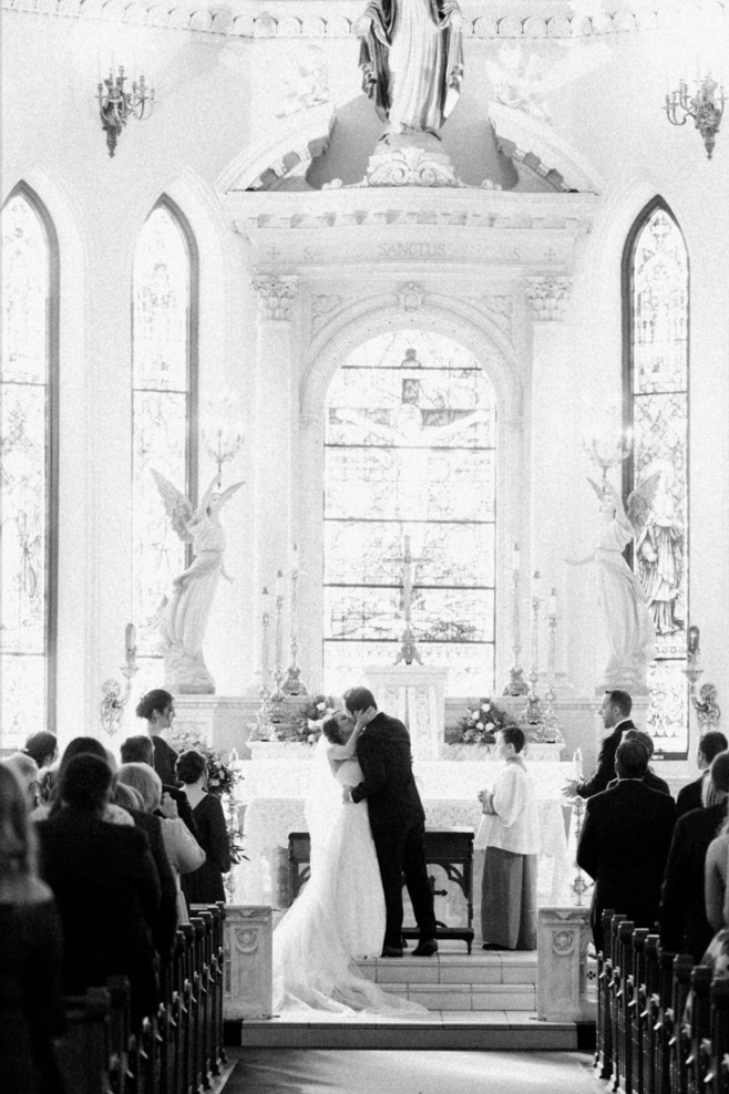 Cathedral Wedding Ceremony | Maroon and Navy Rustic Winter Wedding in Fort Worth, TX