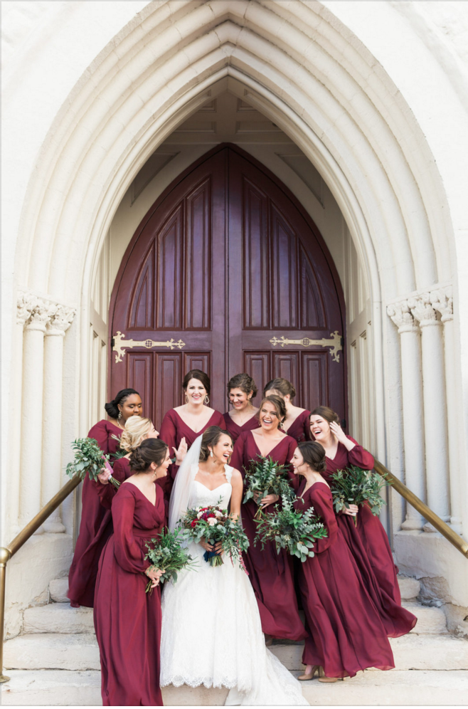 Maroon Bridesmaids Dresses for Winter | Maroon and Navy Rustic Winter Wedding in Fort Worth, TX
