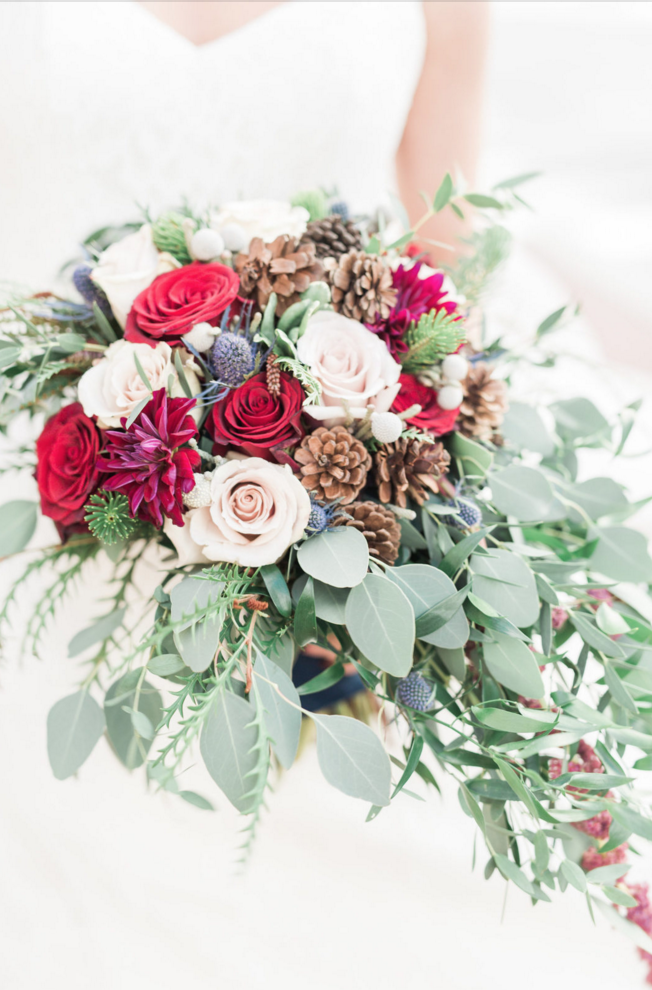 Maroon Winter Wedding Bridal Bouquet | Maroon and Navy Rustic Winter Wedding in Fort Worth, TX