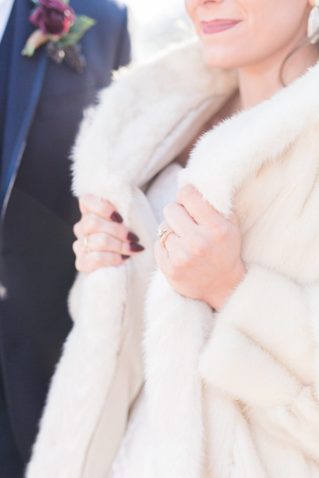 Bridal Winter Fur Coat | Maroon and Navy Rustic Winter Wedding in Fort Worth, TX