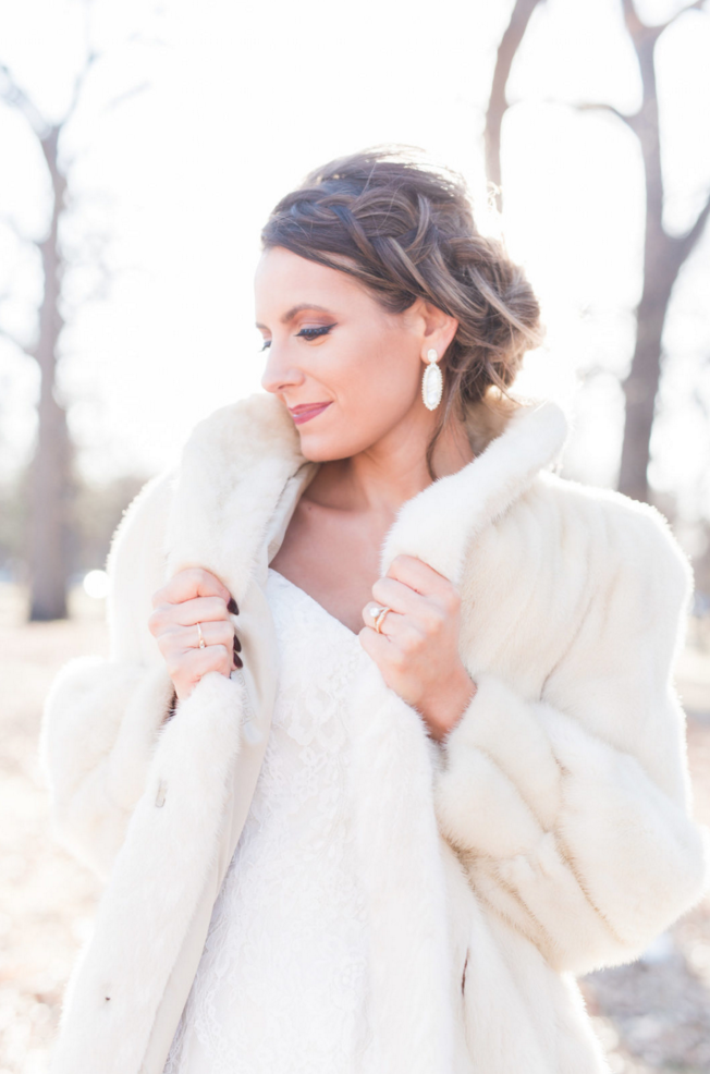 Winter Bridal Look Inspiration | Maroon and Navy Rustic Winter Wedding in Fort Worth, TX