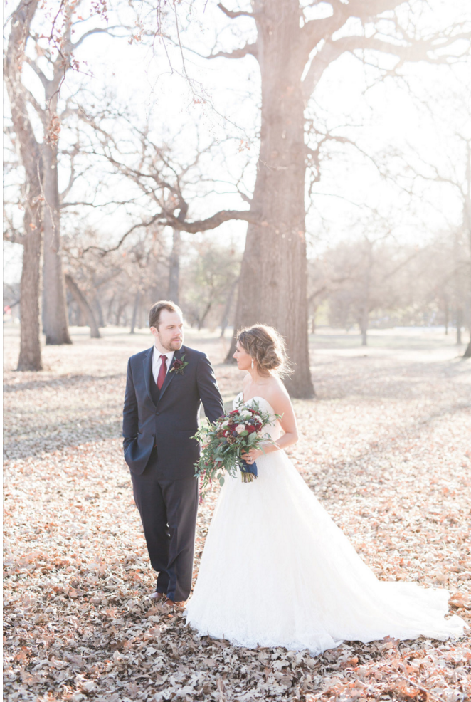 Natural Light Winter Bride and Groom Portraits | Maroon and Navy Rustic Winter Wedding in Fort Worth, TX