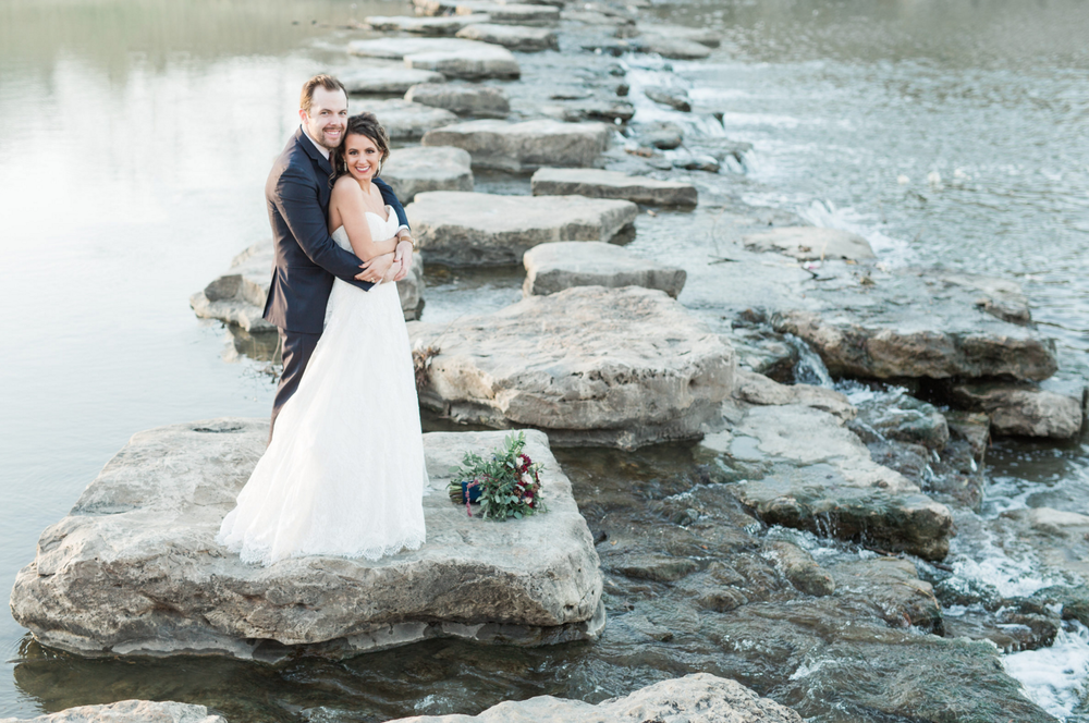 Bride and Groom Portraits in Trinity Park | Maroon and Navy Rustic Winter Wedding in Fort Worth, TX