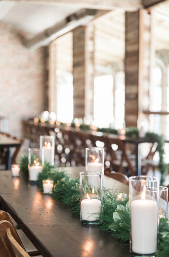 Winter Farm Table Greenery Garland | Maroon and Navy Rustic Winter Wedding in Fort Worth, TX