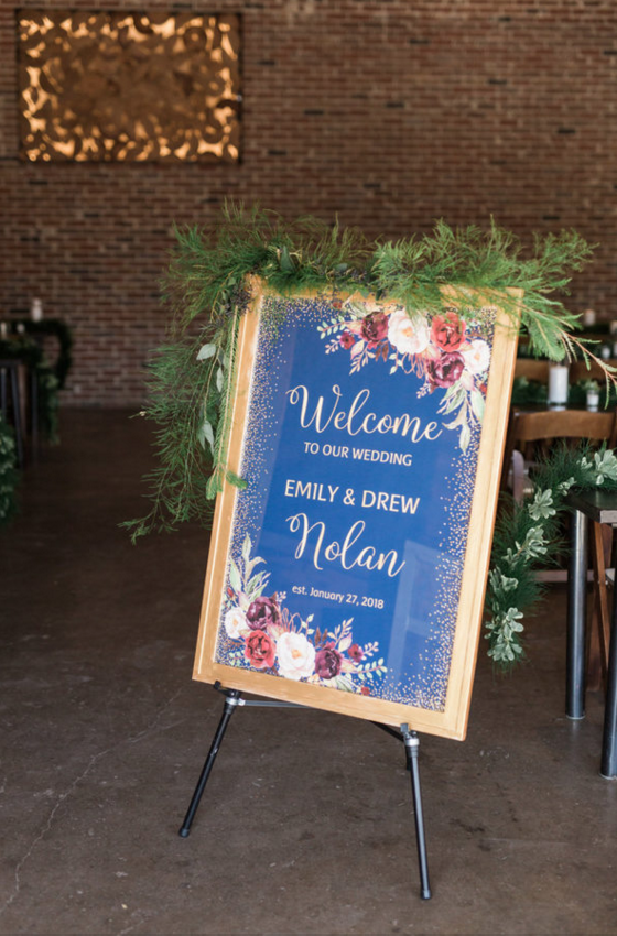Custom Navy and Maroon Wedding Welcome Sign | Maroon and Navy Rustic Winter Wedding in Fort Worth, TX