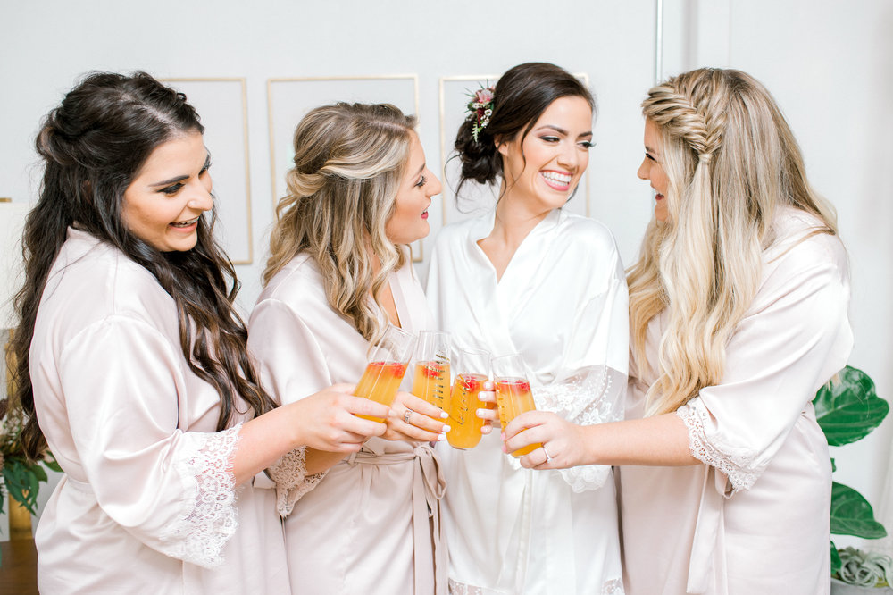 Bridesmaids Getting Ready in Matching Robes | Industrial Vintage Downtown Wedding