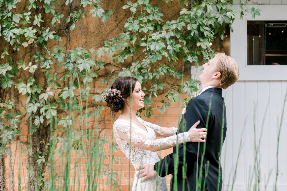 Bride and Groom Private First Look | Modern Industrial Fort Worth Wedding