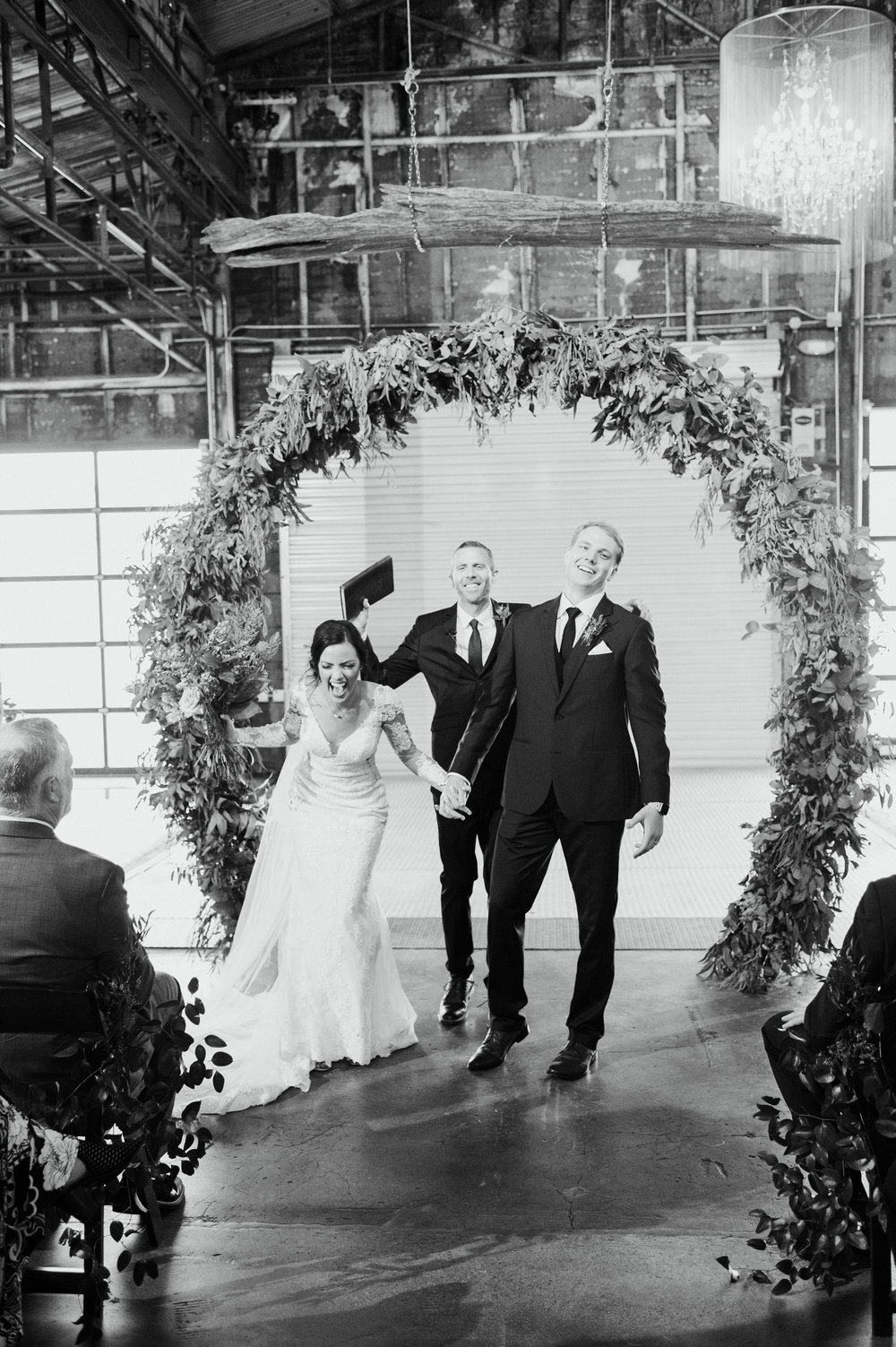 Ceremony Floral Hoop Backdrop | Industrial Modern Fort Worth Wedding