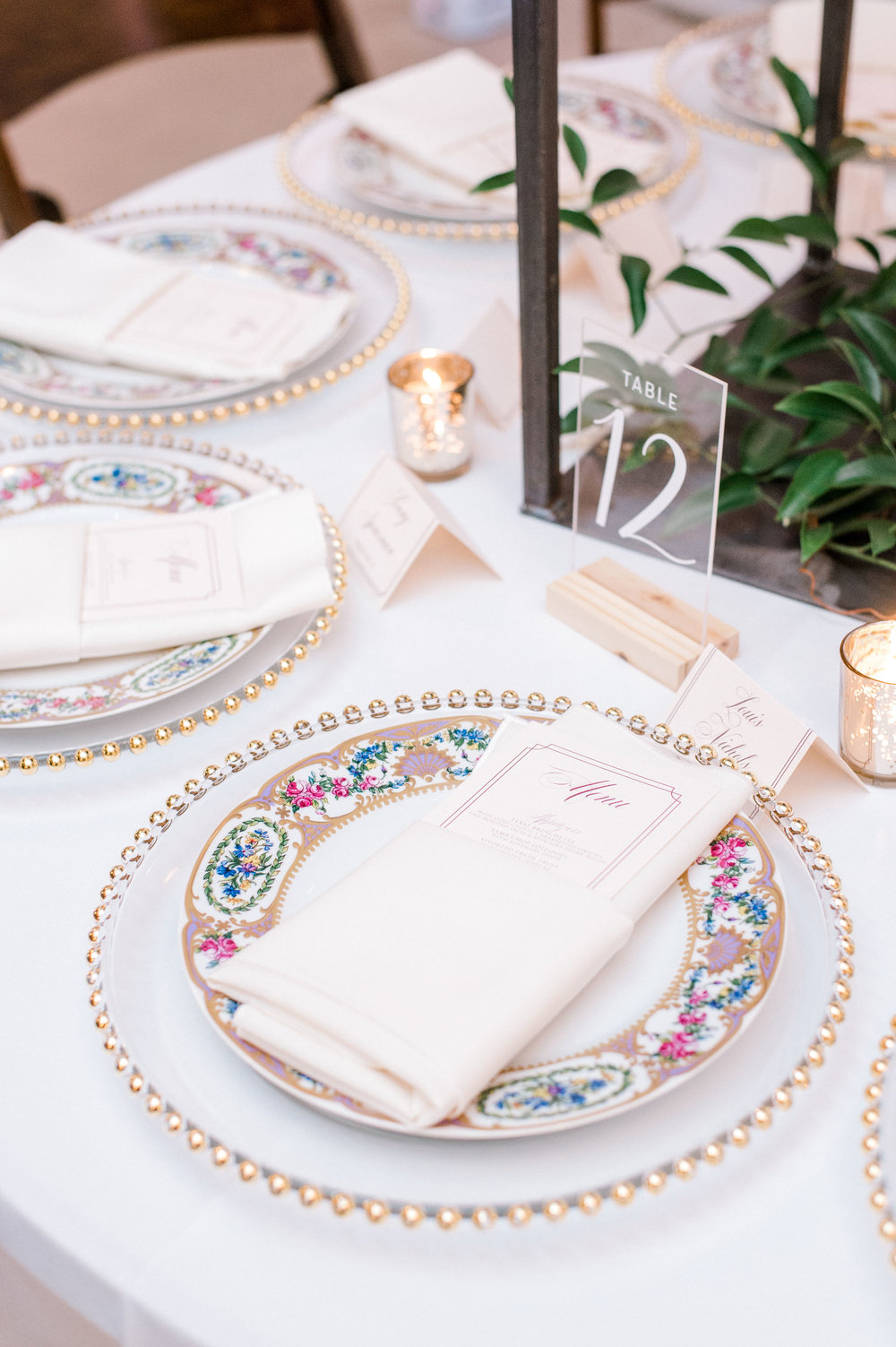 Vintage Fall Wedding Place Setting | Vintage Industrial Fort Worth Wedding Reception Design