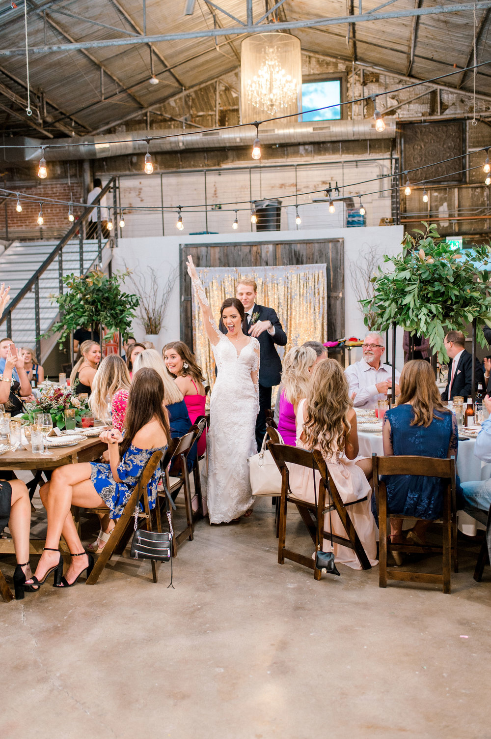 Modern Bohemian Industrial Wedding Reception | Fall Wedding Reception in Downtown Fort Worth