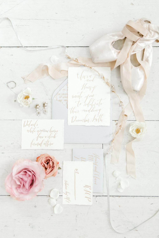 Fine Art Calligraphy Wedding Invitation Suite | Ballet Inspired White Barn Wedding