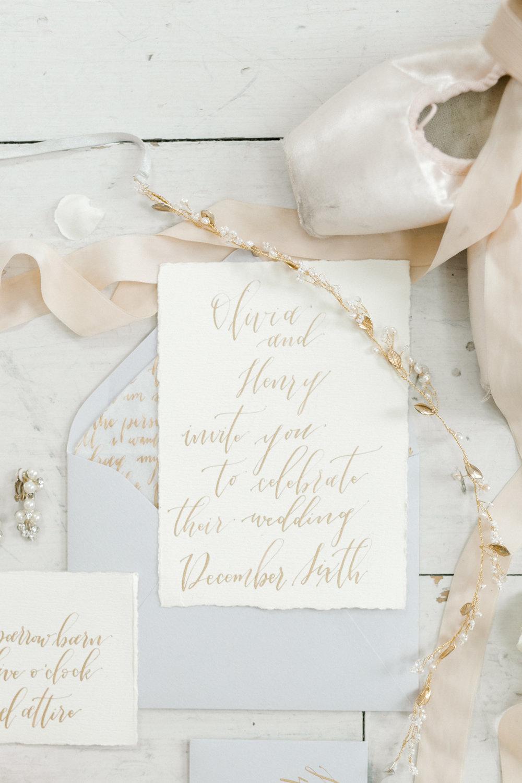 Custom Calligraphy Wedding Invitations White and Gold | Ballet Inspired White Barn Wedding