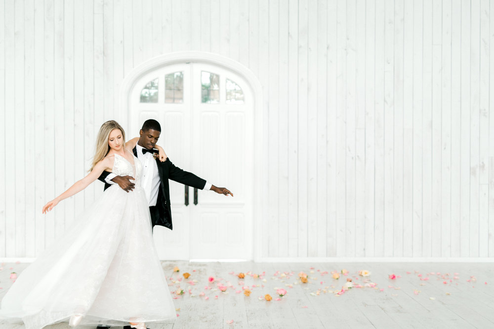 Ballet Inspired Wedding Reception | Ballet Inspired White Barn Wedding
