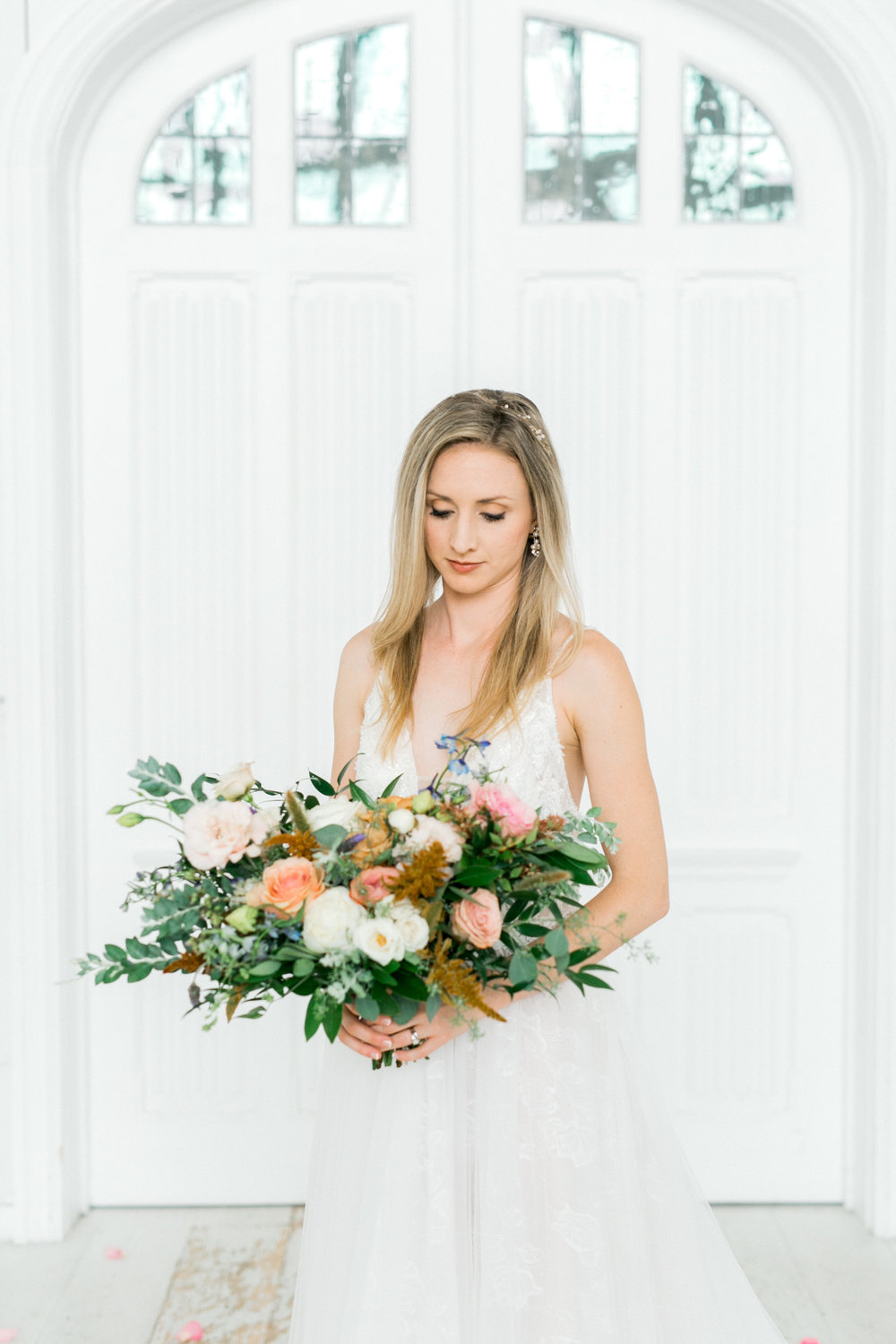 Fall Pastel Wedding Bouquet | Ballet Inspired White Barn Wedding