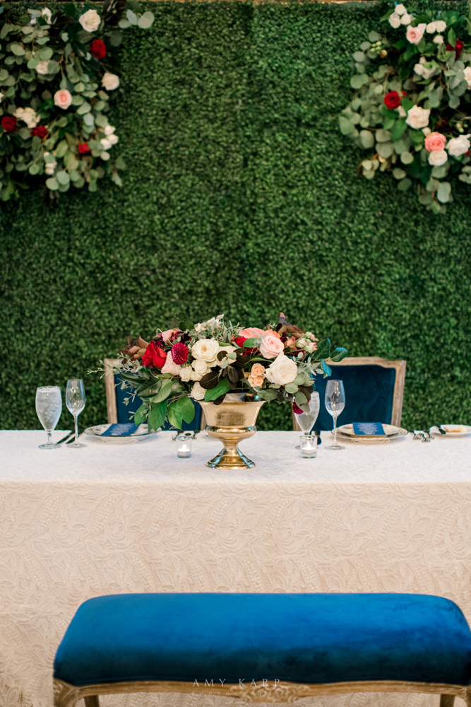 Sweetheart Table Design | Fall Formal Vintage Maroon and Navy Wedding