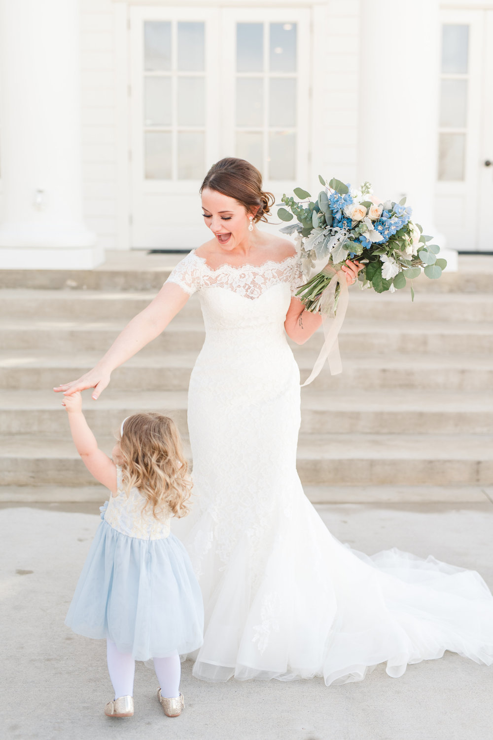 Flower Girl Dress Inspiration | Rose Gold and Dusty Blue Winter Wedding in Dallas, TX