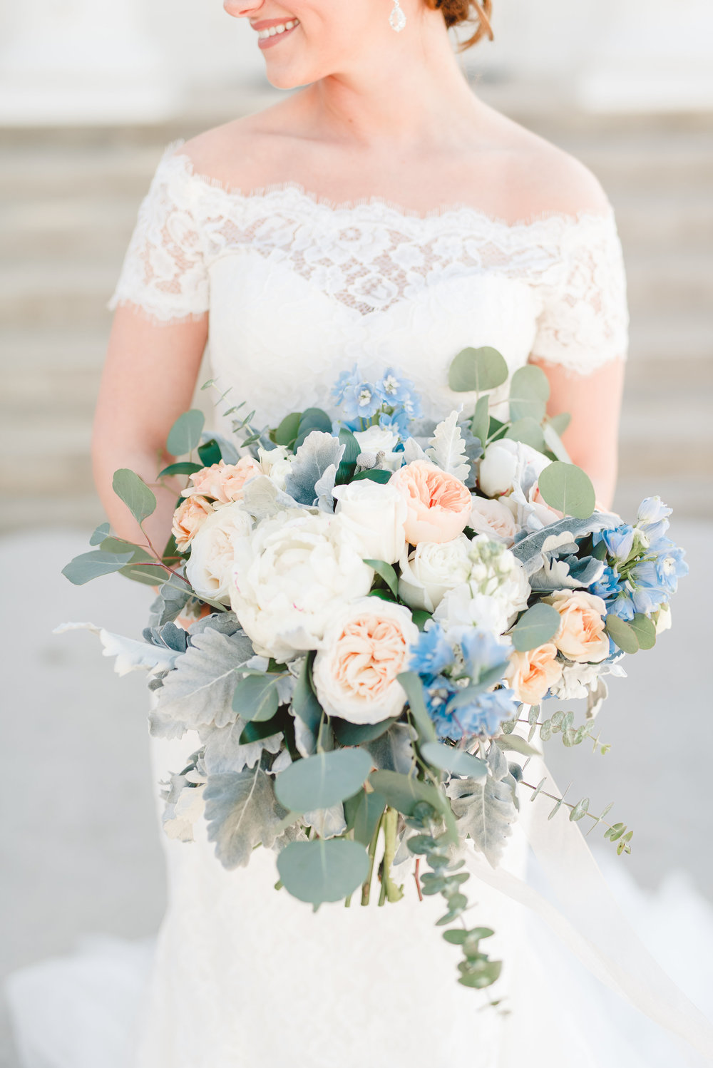 Textured Bridal Bouquet Inspiration | Rose Gold and Dusty Blue Winter Wedding in Dallas, TX