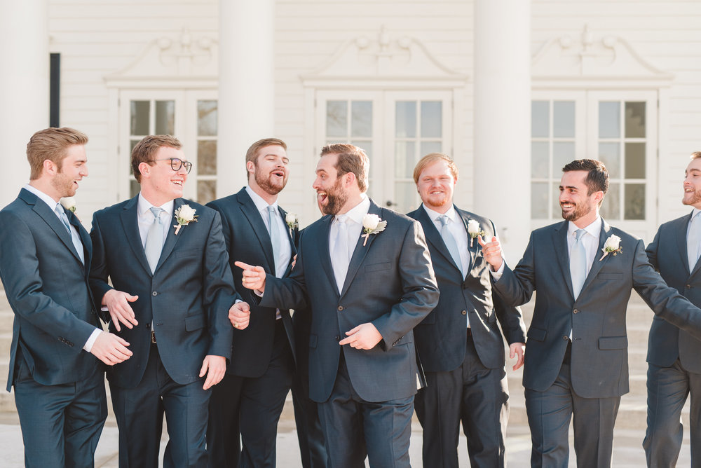 Classic Navy Groomsmen Suits | Rose Gold and Dusty Blue Winter Wedding in Dallas, TX