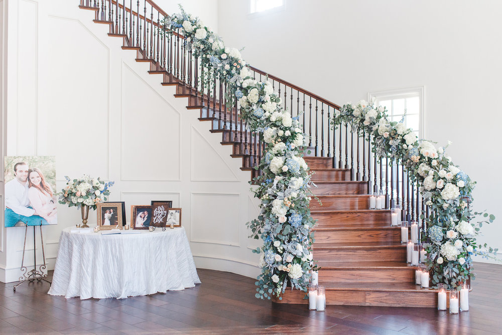 Floral Wedding Reception Entrance Staircase | Rose Gold and Dusty Blue Winter Wedding in Dallas, TX