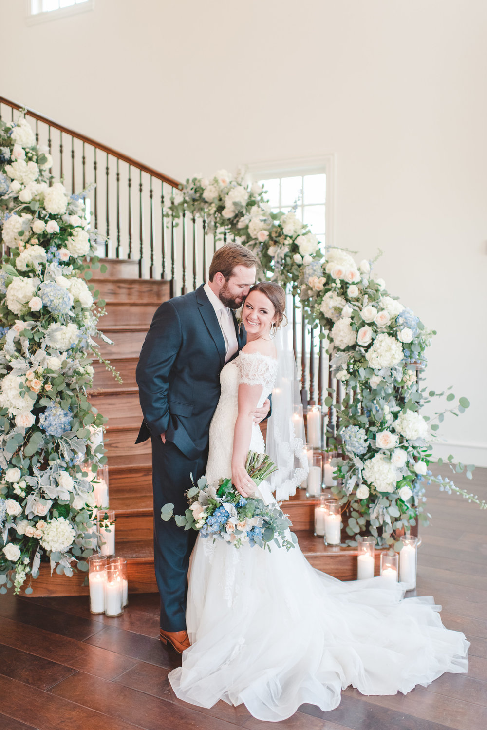 Floral Wedding Staircase Photo Backdrop | Rose Gold and Dusty Blue Winter Wedding in Dallas, TX