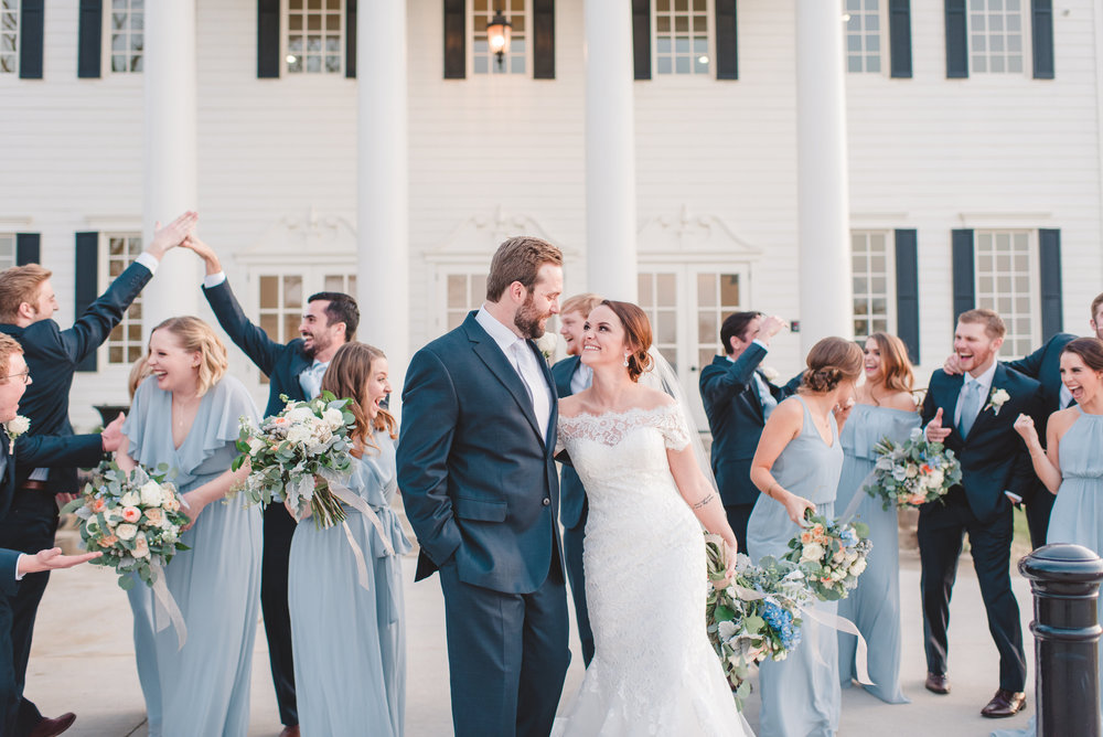 Wedding Party Sunset Pictures | Rose Gold and Dusty Blue Winter Wedding in Dallas, TX