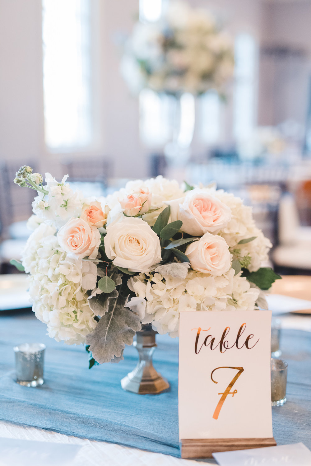 Rose Gold Table Number Accents | Rose Gold and Dusty Blue Winter Wedding in Dallas, TX