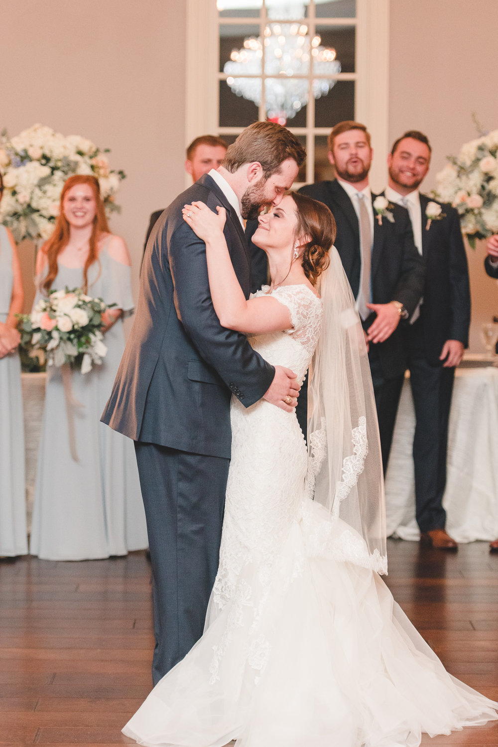 Bride and Groom First Dance | Rose Gold and Dusty Blue Winter Wedding in Dallas, TX
