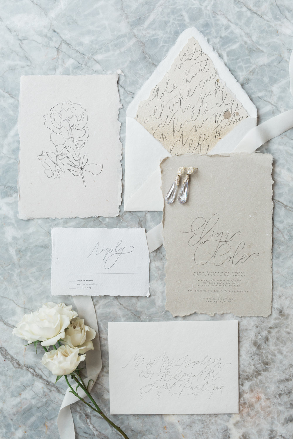 Fine Art Neutral Wedding Invitations | European Inspired Winter Wedding