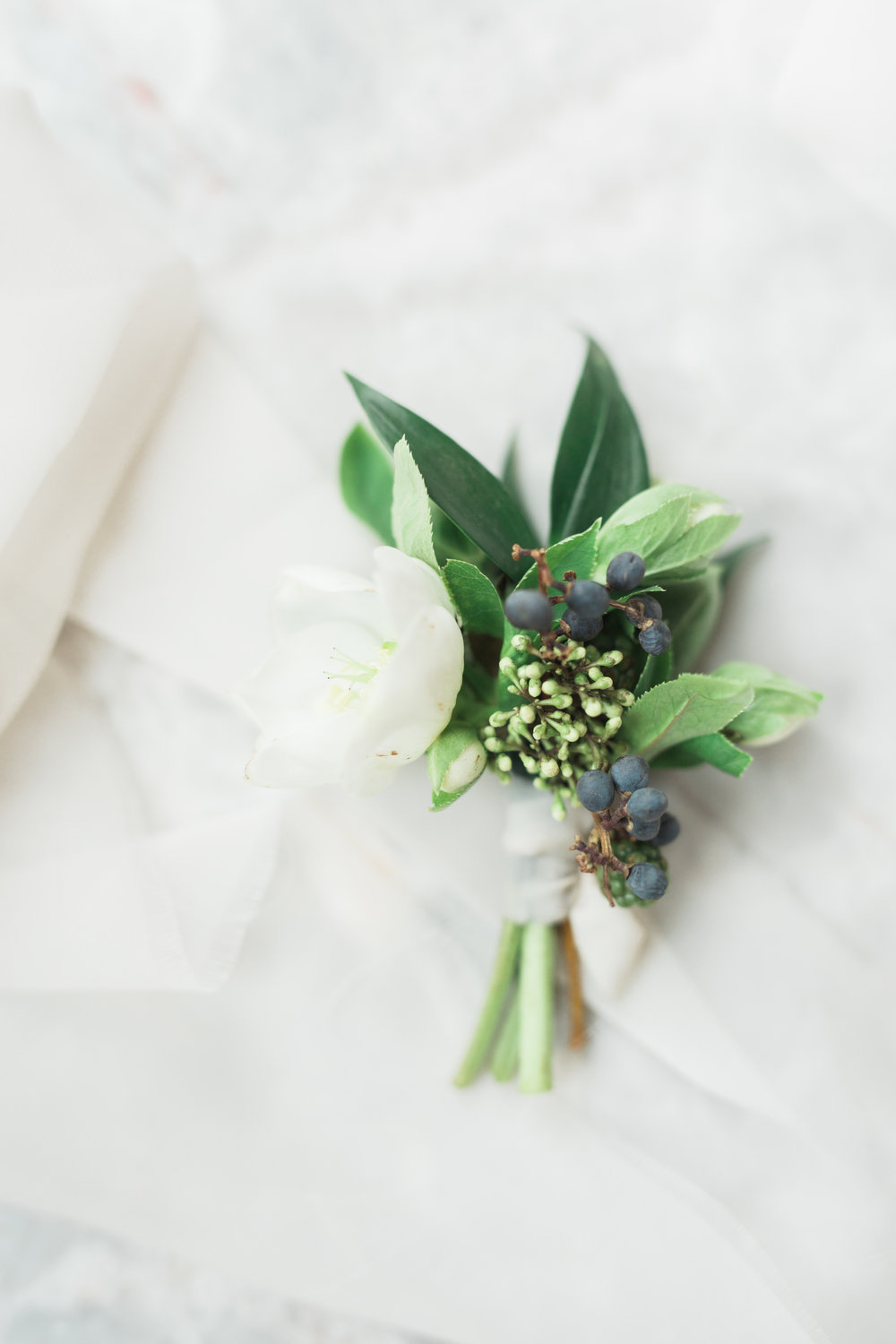 Textured Organic Winter White Groom's Boutonniere | Fort Worth, TX
