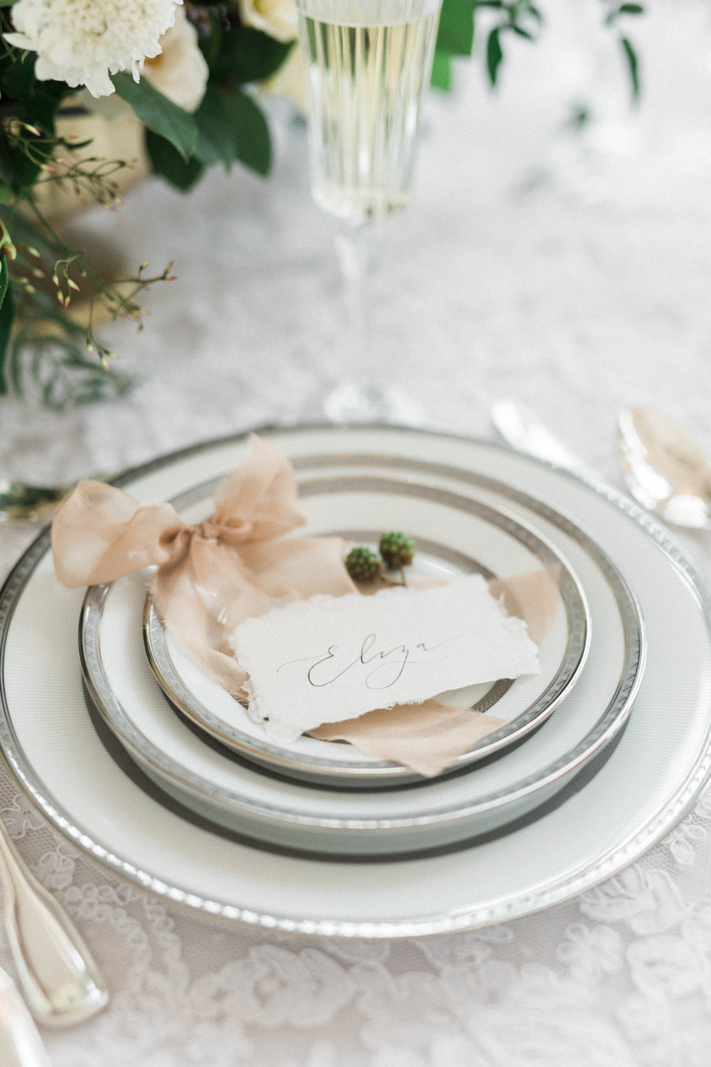Formal Place Setting | Fine Art European Winter Wedding Inspiration in Fort Worth