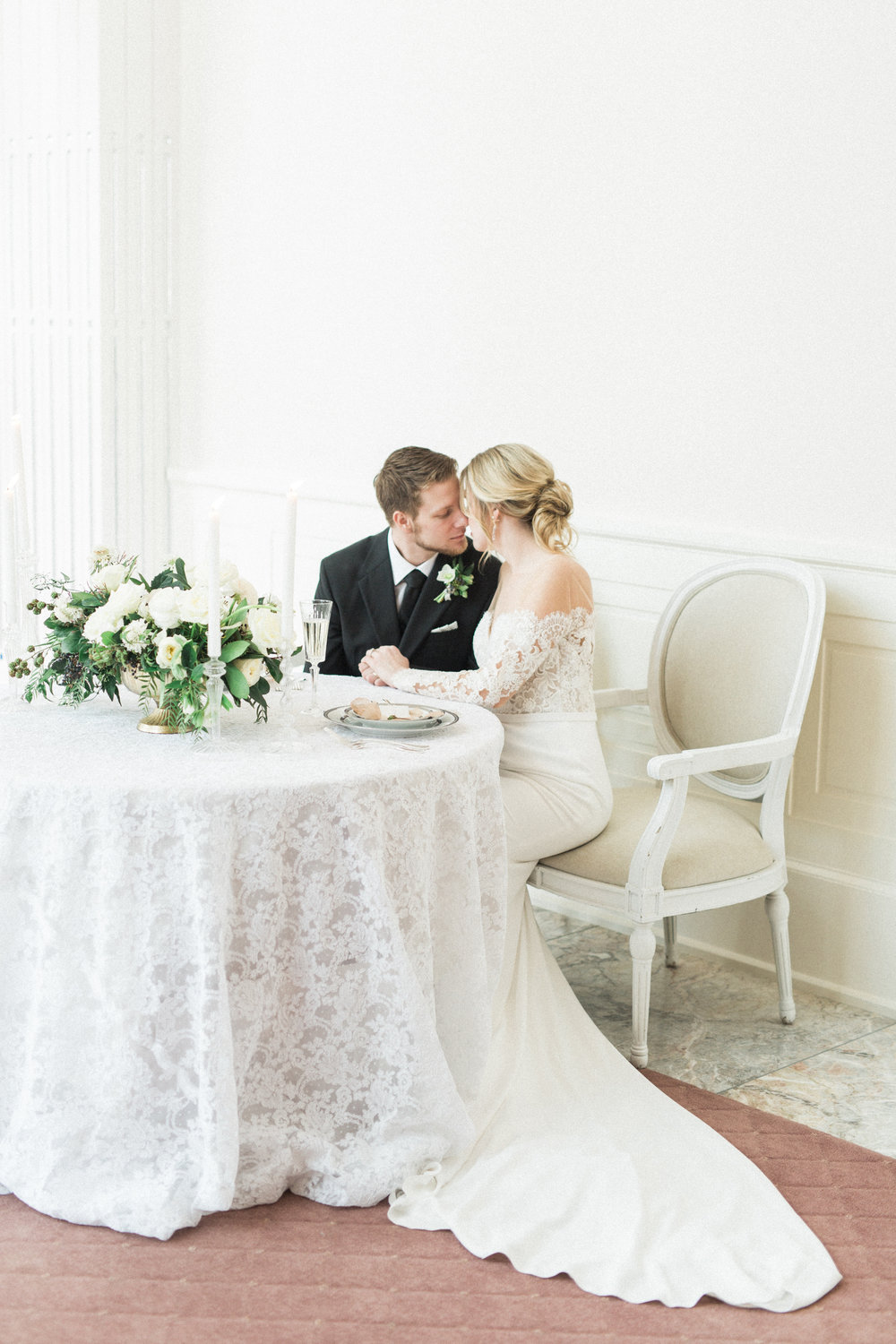Intimate Wedding Sweetheart Table | Fine Art European Inspired Winter Wedding