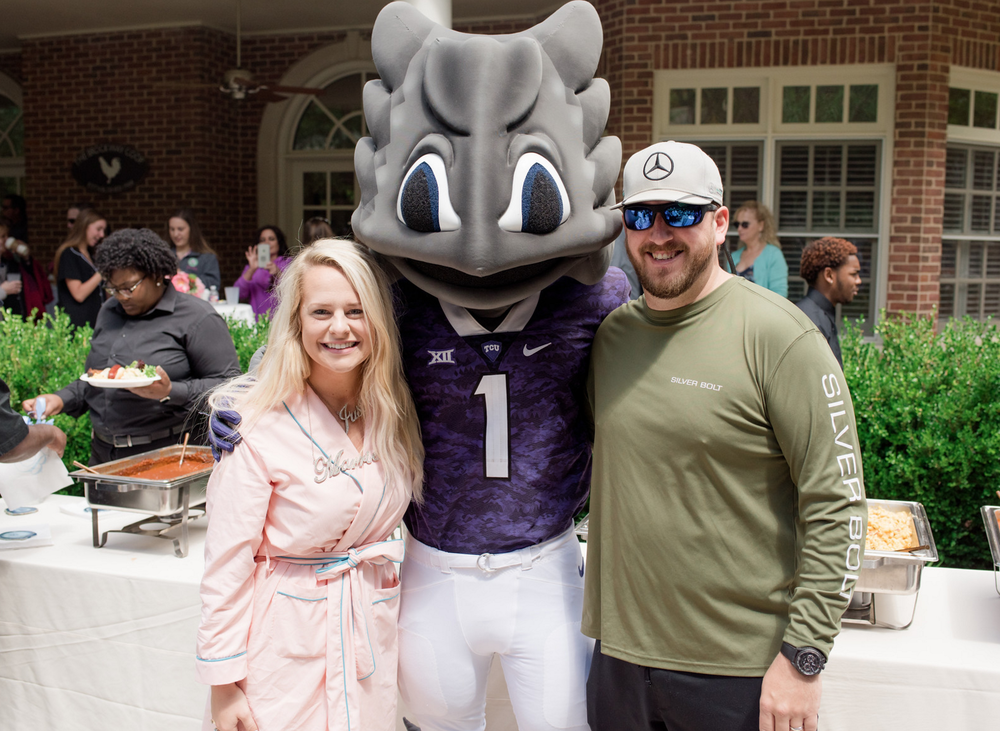 Wedding College Mascot Appearance | Rustic Vibrant Southern Backyard BBQ in Fort Worth