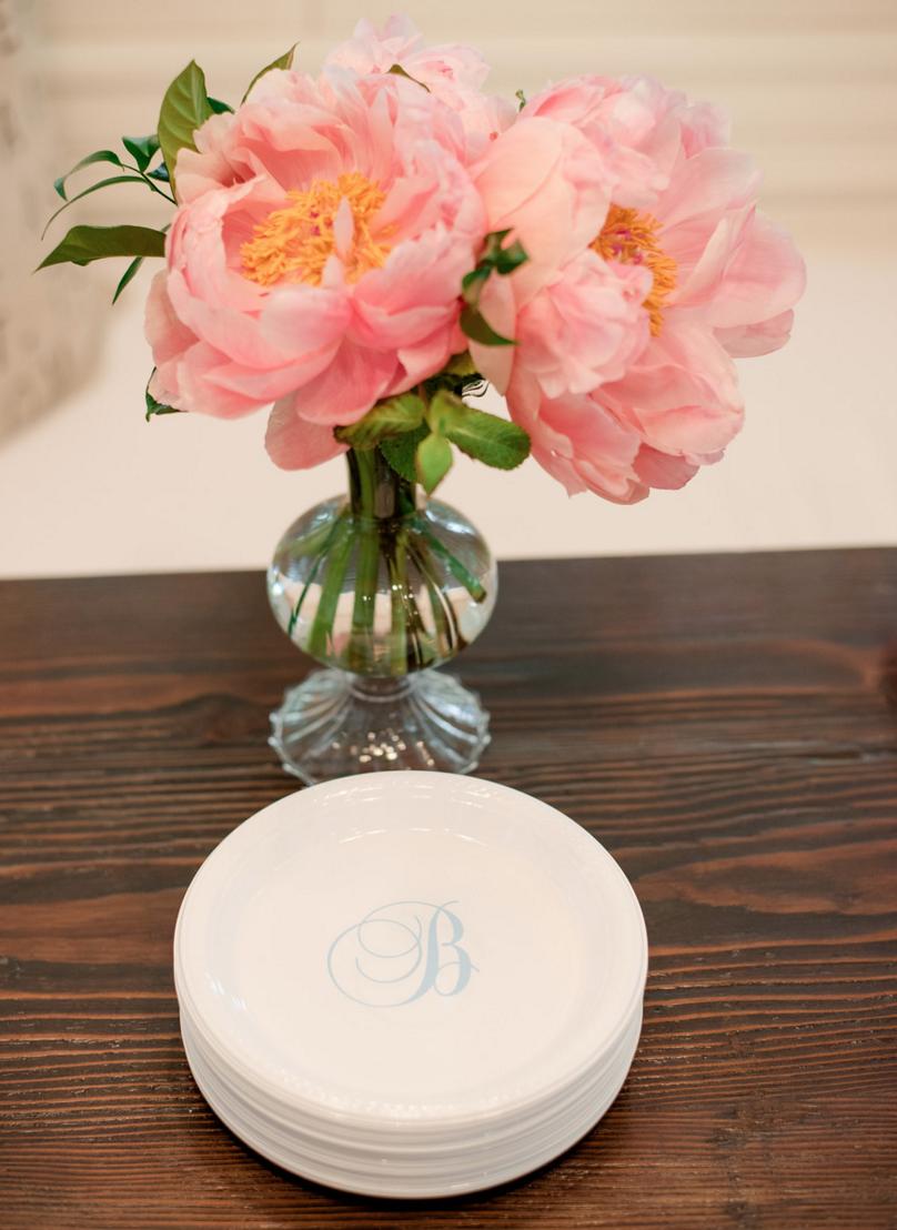 Custom Monogram Wedding Plates | Rustic Vibrant Southern Backyard BBQ in Fort Worth