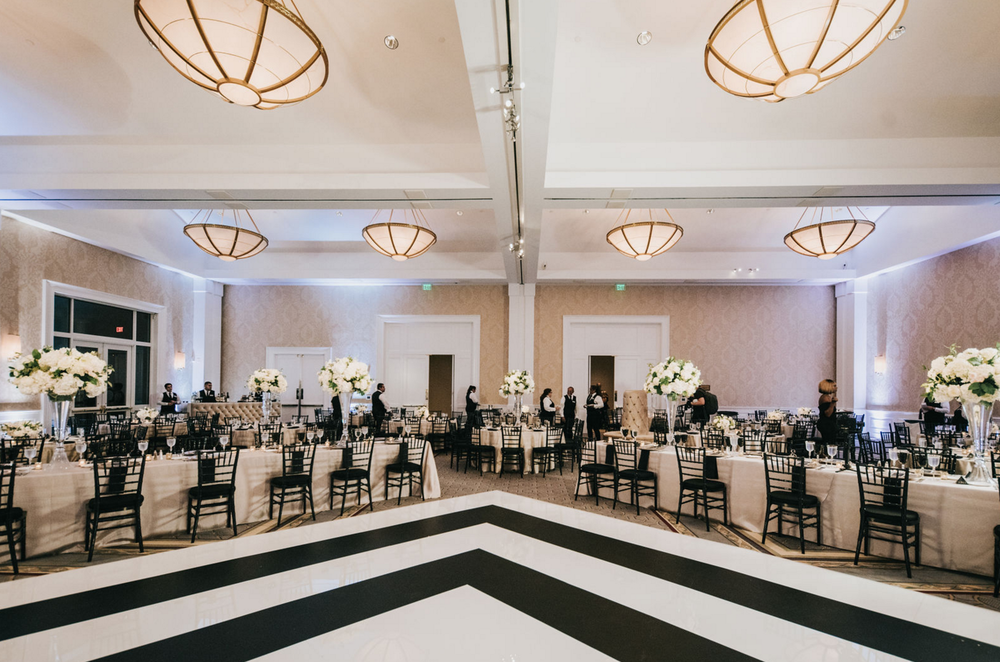 Modern Luxe Wedding Design | Black and White Custom Dance Floor