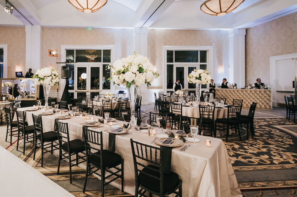Downtown Dallas Black and White Wedding Reception Design
