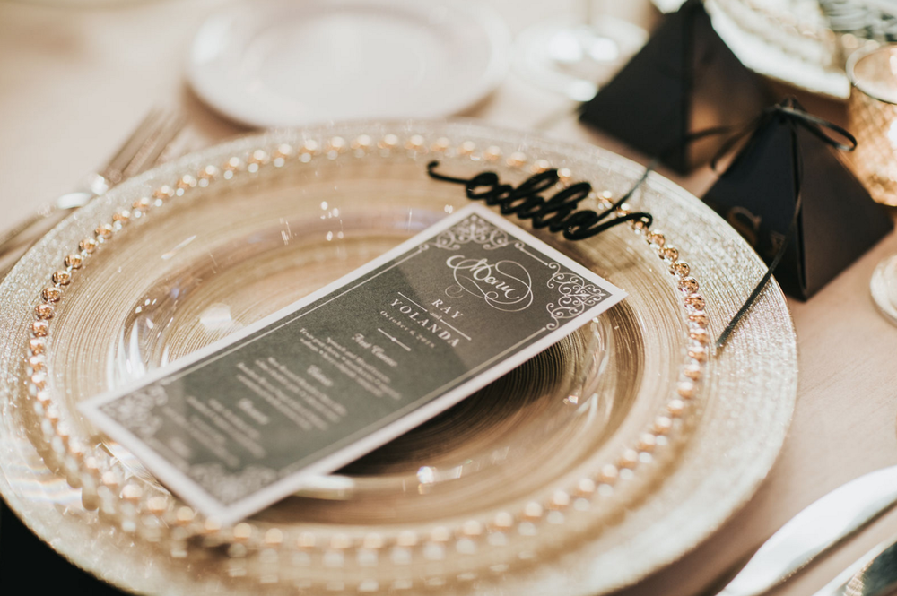 Black and Gold Dallas Wedding Reception